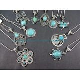 US SELLER-10 necklaces retro vintage wholesale lot turquoise jewelry pendant