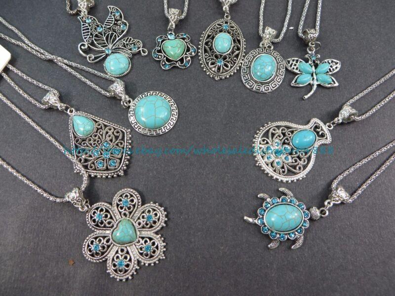10 necklaces retro  wholesale lot turquoise jewelry pendant