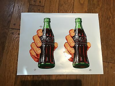 2 Vintage Large Coca-Cola Bottle Hand Decal 16 1/2 inches high