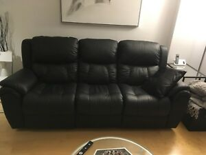 Elran Quebec Black leather sofa couch w/2 recliners NEW 3 seat