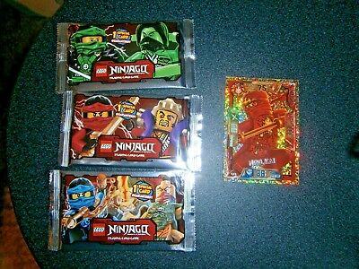 Lego Ninjago Trading Cards Series 1 = 3 Unopened Packs + 1 Gold Card (new)