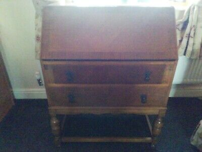 Antique Vintage Wooden Writing Bureau With Key To Lock Very Good Condition