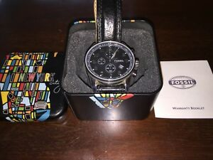 Black Fossil watch with box and warranty