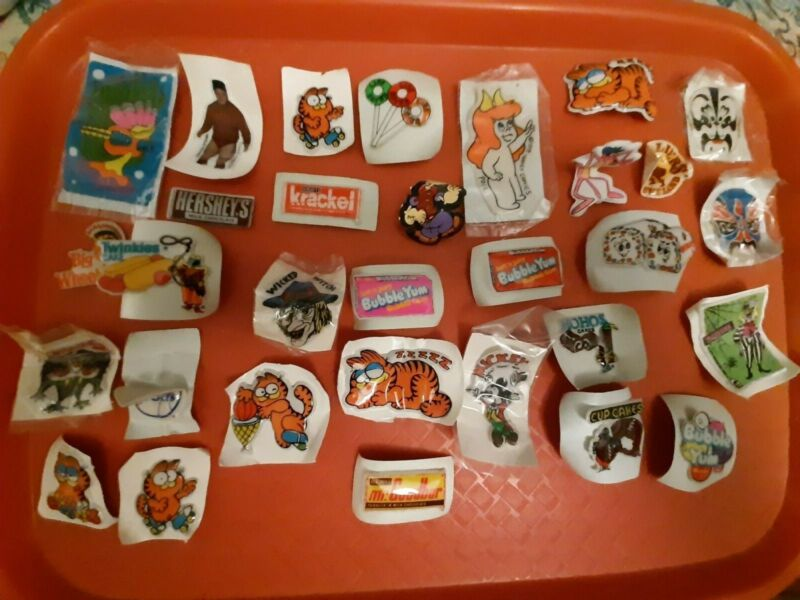 VINTAGE GUMBALL/VENDING PUFFY CARTOON CHARACTER/ADVERTISEMENT STICKERS LOT OF 31