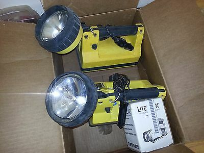 Two Streamlight Litebox  Flashlight and one new bulb