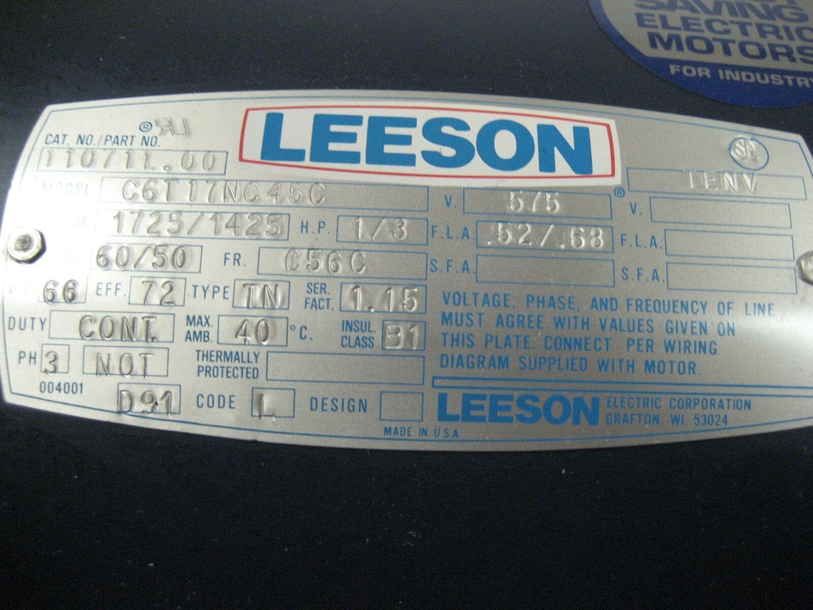 Leeson 1 3 Hp Ac Motor 11071100 575vac 60 50hz 1725rpm Ebay 3hp Electric Wiring Diagram