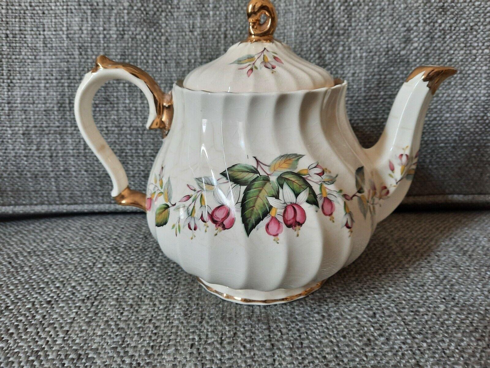 Sadler England China Tea Pot Fuchsia Vintage Flowers Numbered 1940 s Limited Ed. - $16.50