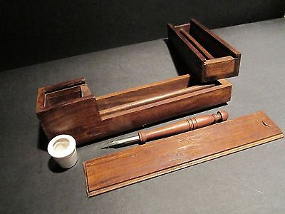 Antique Style Wood Slide Lid Swing Open Writing Box Campaign Inkwell w Dip Pen