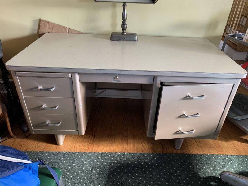 Steelcase Metal / Steel Tanker Desk - Mid Century Modern – Vintage – Industrial