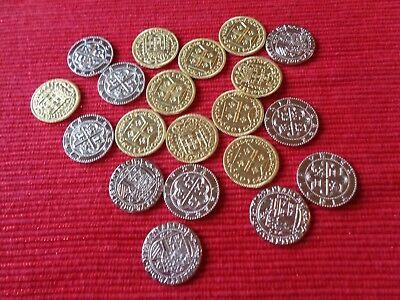 50 Metal Pirate Treasure Coin Assortment in a Muslin Cotton Pirate Cloth Bag