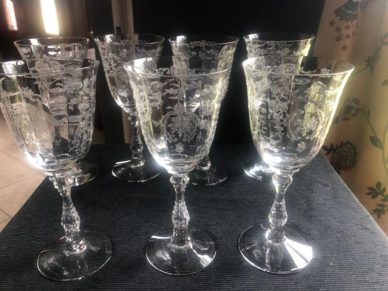 "Set 7 Mint Vintage Fostoria Navarre 7 5/8"" Crystal Glass Water Goblets"