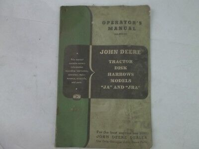 John Deere Tractor Disk Harrows Models Ja Jba Operators Manual