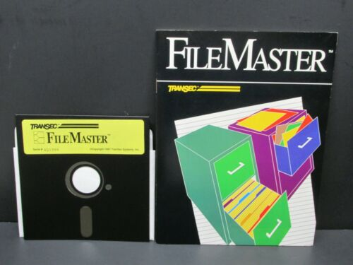 "FileMaster, PC, IBM PC, DOS 2.1 + 5 1/4"" Floppy Disc, TranSec, 1987, Never Used"
