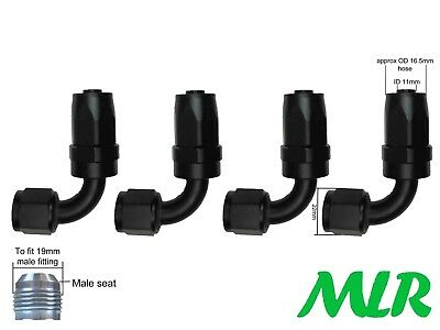 MLR AN -8 JIC 90° DEGREE BLACK OIL COOLER REMOTE FILTER HOSE PIPE FITTINGS