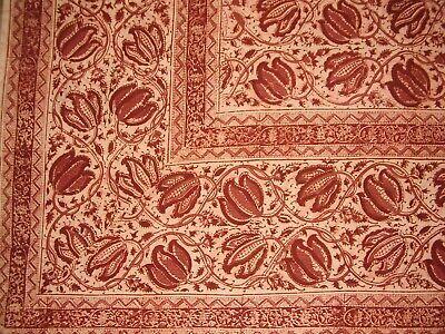 "Veggie Dye Block Print Tapestry Cotton Bedspread 106"" x 72"" Twin Red"