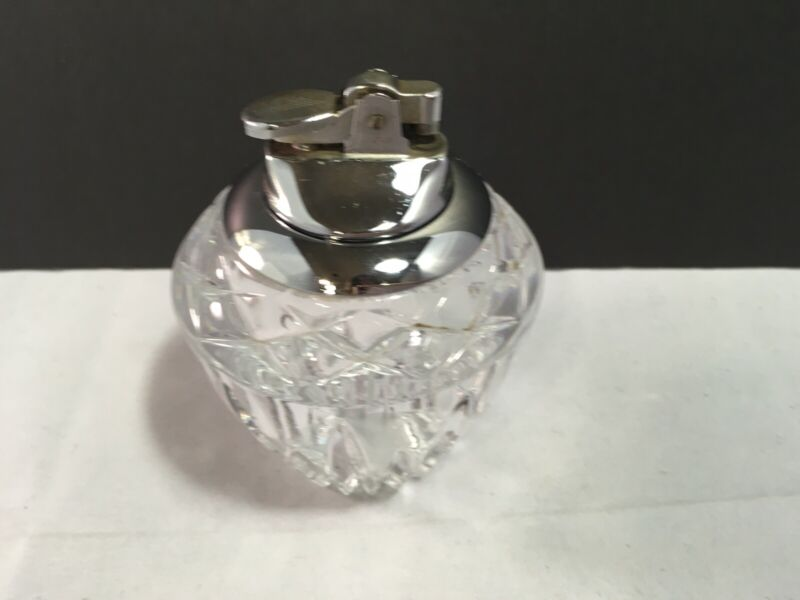 VTG MID CENTURY HEAVY CUT CRYSTAL GLASS TABLE LIGHTER Japan