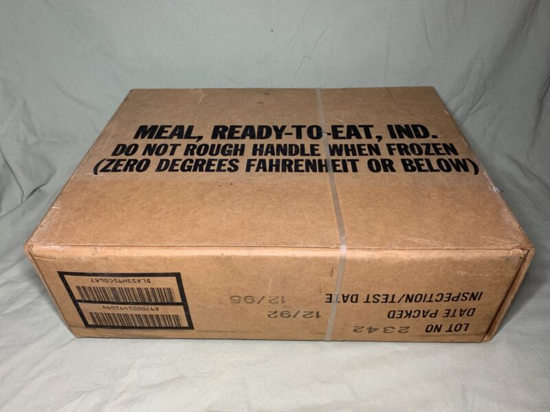 Vintage Sealed Case of 12 U.S Military MRE Rations 1992 Collectible SO-PAK