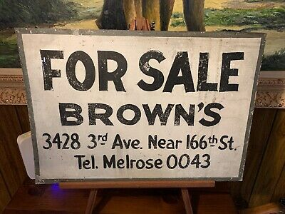 RARE ANTIQUE ORIGINAL 1930s NEW YORK CITY TIN ADVERTISING TOBACCO BROWNS MULE NR