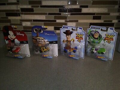 Hot Wheels Disney Buzz Lightyear Woody Wall-E and Mickey Mouse Character Cars