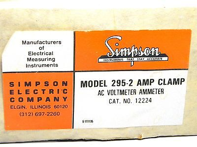Simpson 295-2 Amp Clamp Ac Voltampmeter Cat. No. 12224