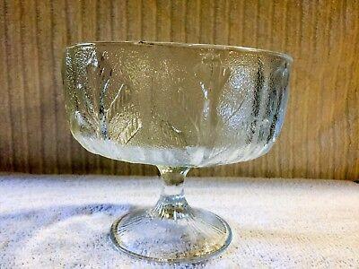 Vintage F.T.D. 1975 Clear Glass Compote Leaf Design Textured Pedestal Bowl