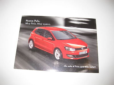 VW POLO 2009 SPANISH POSTCARD COMPLETE WITH STICKERS ON REVERSE  NEW POSTCARD