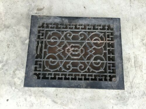 Fancy Antique Cast Iron Furnace Floor Grate w/ Louvers