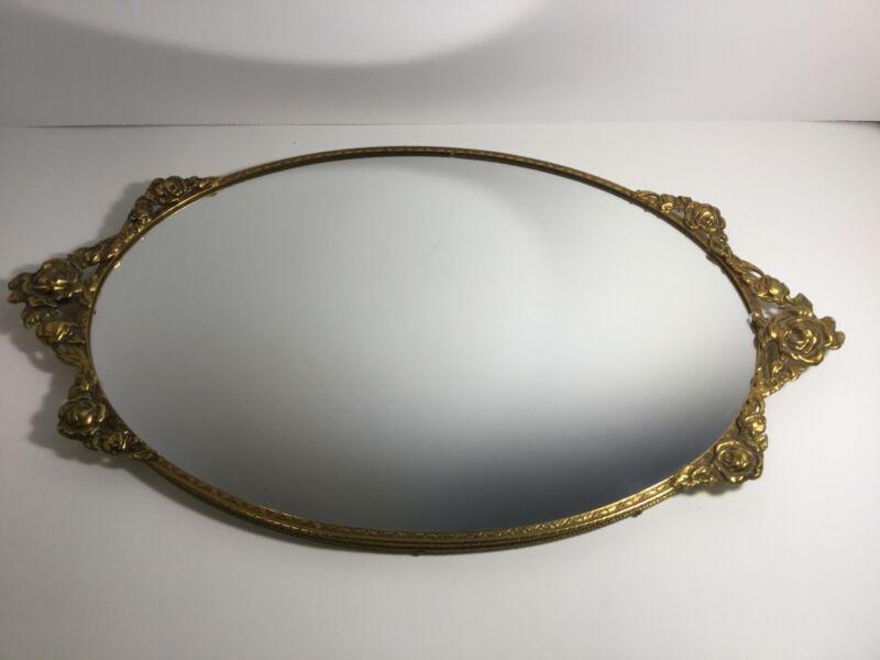 "Vintage Vanity Mirror Tray Rectangle Gold Tone Filigree Frame OVAL 17"" x 10 1/2"""