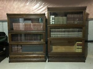 Antique lawyer bookcases c/w books