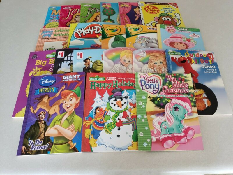 Lot of 20 Coloring & Activity Books. Disney, Strawberry Shortcake, Shrek & More
