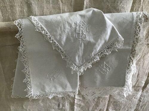 Set (3) Antique/Vintage French pillow shams Metis linen hand sewn mono BH lace
