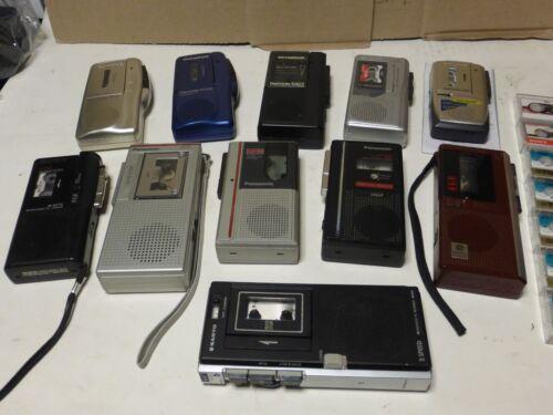 Lot of 11 Vintage Micro Cassette Recorders Olympus Panasonic Sony Sanyo Aiwa