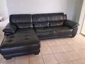 Black 2.5 Seater Leather Sofa with Chaise + 2 Seater Leather Sofa St Johns Park Fairfield Area Preview