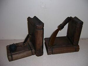 Vtg pyrography wood metal gothic medieval weapons bookends - Gothic bookends ...