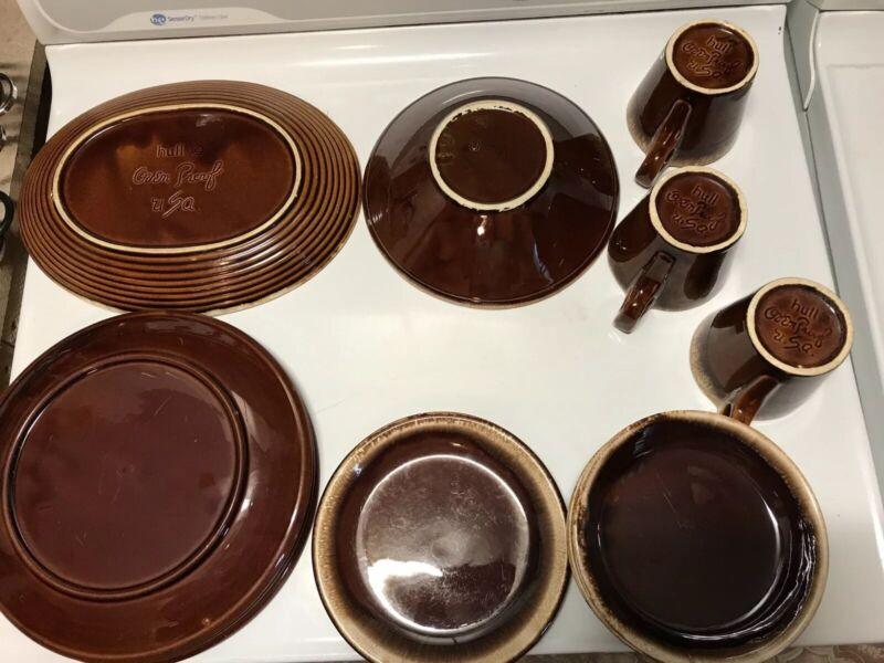 Vintage Hull McCoy & USA Brown Drip Pottery Dinnerware Set