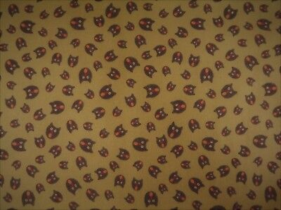 Black Cat Halloween Flannel Fabric Yardage Material 62 inches Mustard Background