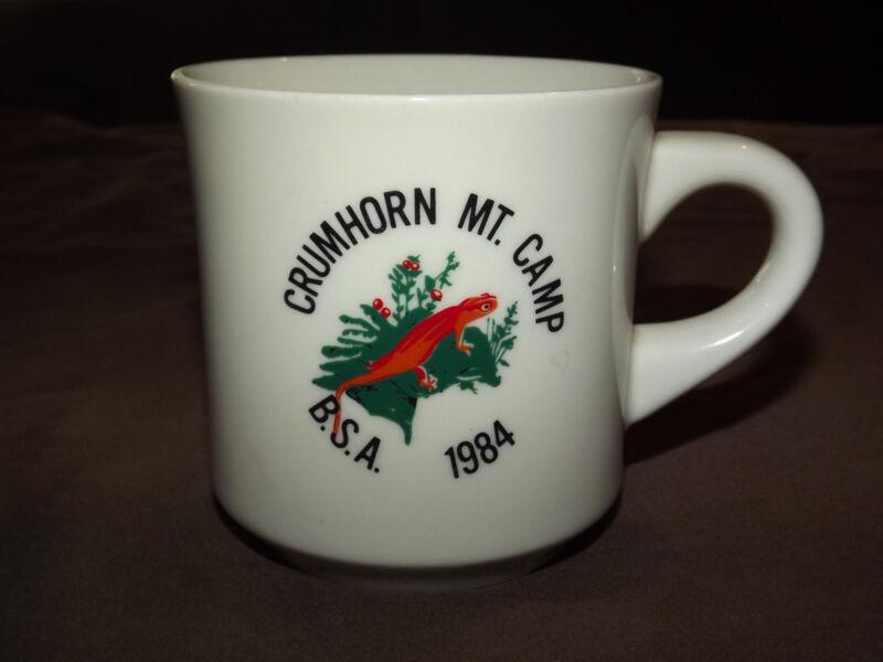 VINTAGE BSA BOY SCOUTS  COFFEE MUG 1984 CRUMHORN MT CAMP