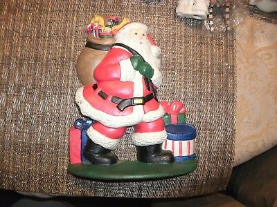"""15#  Vintage LVC 1992 8"""" Cast Iron Santa Claus Christmas Door Stop Deep Red Suit"""