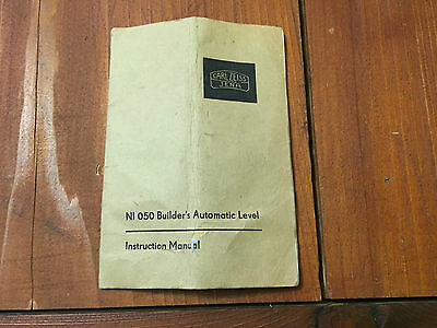 Carl Zeiss Ni 050 Builders Automatic Level Instruction Manual Surveying