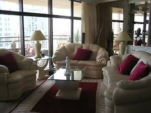 Italian cream leather lounge suite  3 seater, 2 seater, 1 seater Surfers Paradise Gold Coast City Preview