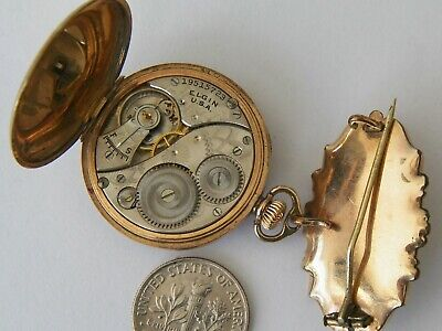 WORKING ORNATE 104 year old ELGIN GOLD FILLED BROOCH WATCH AND FOB