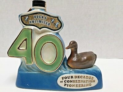 Jim Beam Decanter Bottle 40th Anniversary Ducks Unlimited 1977 Signed Empty