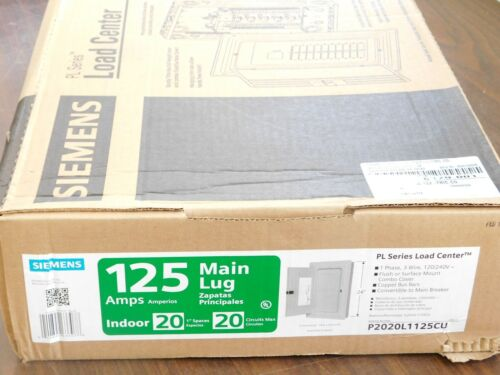 NEW Siemens PL Series 125 Amp 20-Space 20-Circuit Main Lug Indoor Load Center VN
