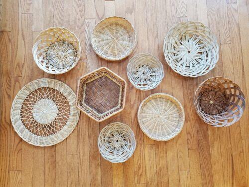Boho Wicker Basket Wall  (9 Baskets)
