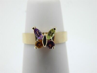 14K YELLOW GOLD MULTI COLOR CZ BUTTERFLY TOE RING ADJUSTABLE (14k Butterfly Toe Ring)