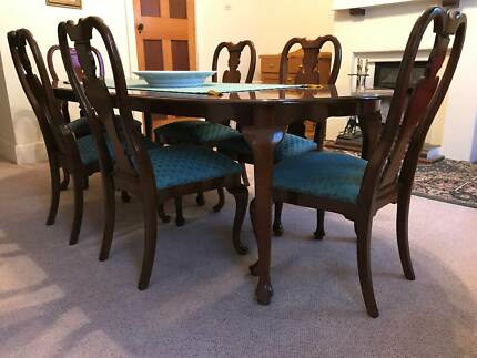 Formal Dining Setting - Solid Walnut table, chairs, buffet Hutch
