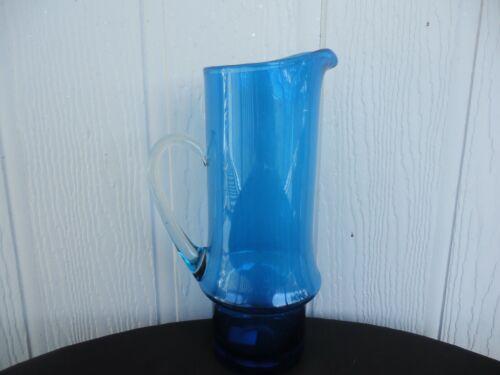 vintage  retro scandinavian teal turquoise blue art glass water jug mid century