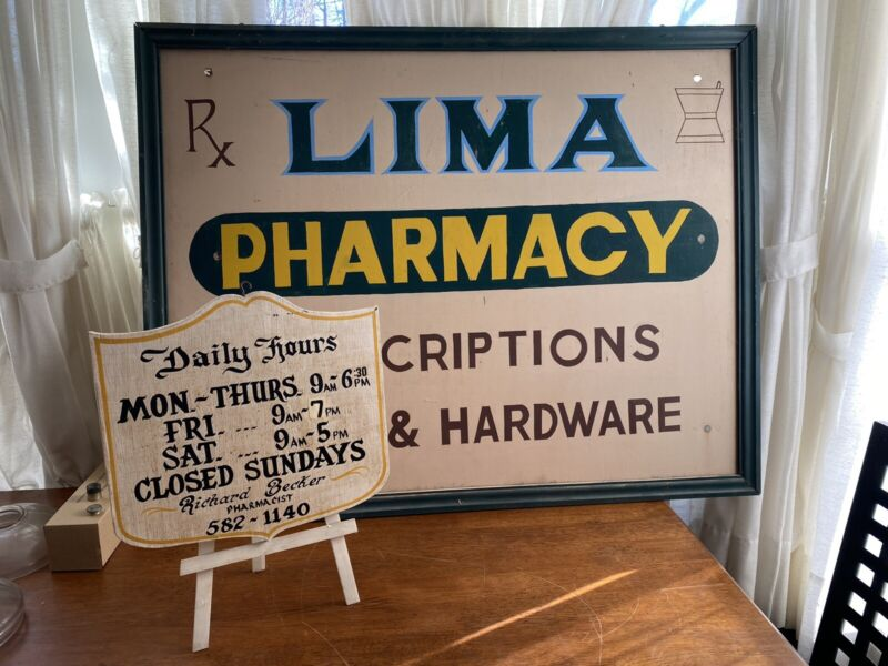 Vintage Wood Painted Drug Store Advertising Sign Lima NY Pharmacy & Hours Easel