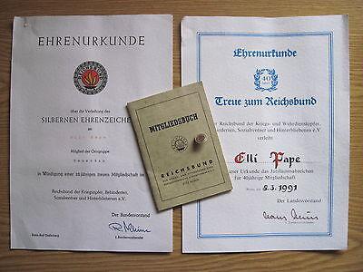 Reichsbund Heuerßen 2 Urkunden,Mitgliedsbuch mit Abzeichen