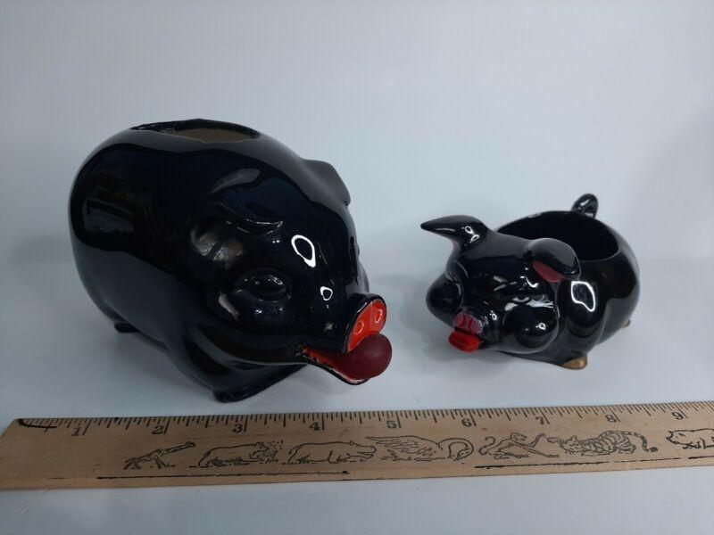 2 Vintage Black Ceramic Pigs Bank Trinket Dish